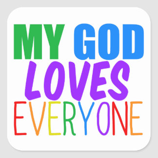 Mi dios ama cada uno pegatina cuadrada