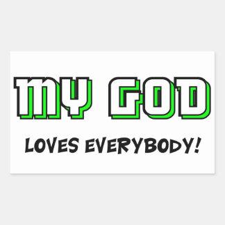 Mi dios ama todos el decir cristiano rectangular altavoces