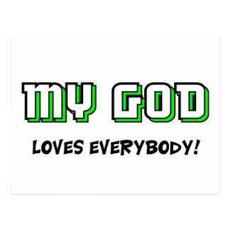 Mi dios ama todos el decir cristiano tarjetas postales
