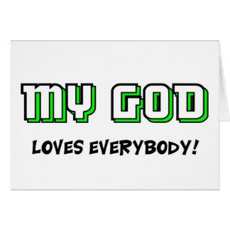 Mi dios ama todos el decir cristiano tarjetas