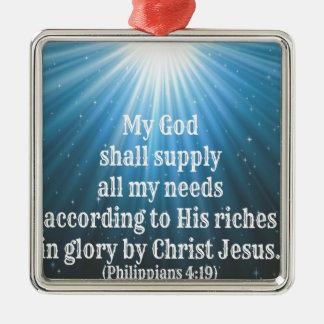 mi dios suministrará todas mis necesidades adorno cuadrado plateado