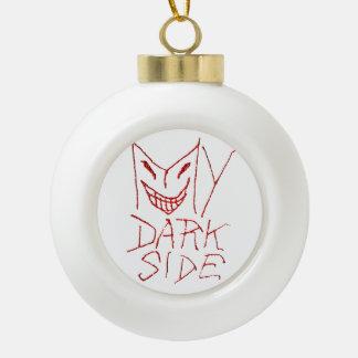 Mi diseño tipográfico del lado oscuro adorno de cerámica en forma de bola