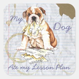 Mi dogo comió mi plan de lección pegatina cuadrada