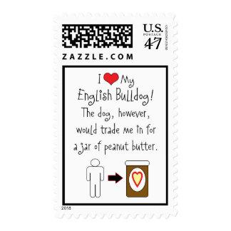 Mi dogo del inglés ama la mantequilla de cacahuete sellos postales