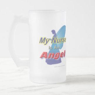 Mi enfermera es un vidrio Stein del ángel Jarra De Cerveza Esmerilada