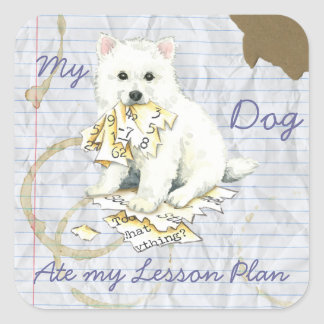 Mi Eskie comió mi plan de lección Pegatina Cuadrada