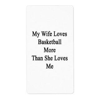 Mi esposa ama baloncesto más que ella me ama etiquetas de envío
