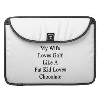 Mi esposa ama golf como un chocolate de los amores fundas para macbooks