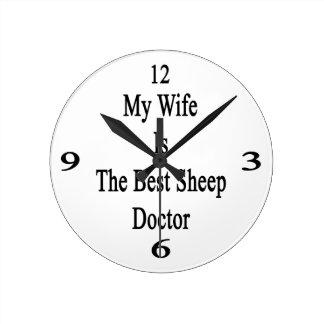 Mi esposa es el mejor doctor de las ovejas reloj de pared