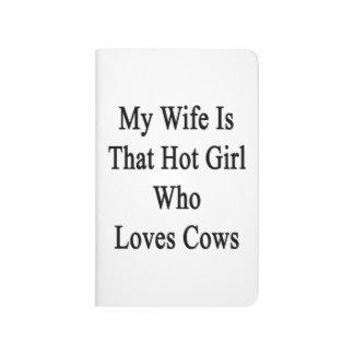 Mi esposa es ese chica caliente que ama vacas cuaderno grapado