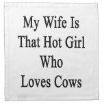 Mi esposa es ese chica caliente que ama vacas servilleta de papel