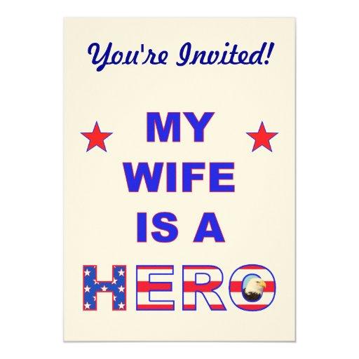 """Mi esposa es un héroe invitación 5"""" x 7"""""""