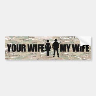 Mi esposa está en los militares pegatina de parachoque