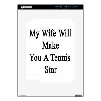 Mi esposa le hará una estrella de tenis pegatina skin para iPad 3