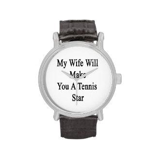 Mi esposa le hará una estrella de tenis reloj de mano