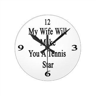 Mi esposa le hará una estrella de tenis reloj de pared