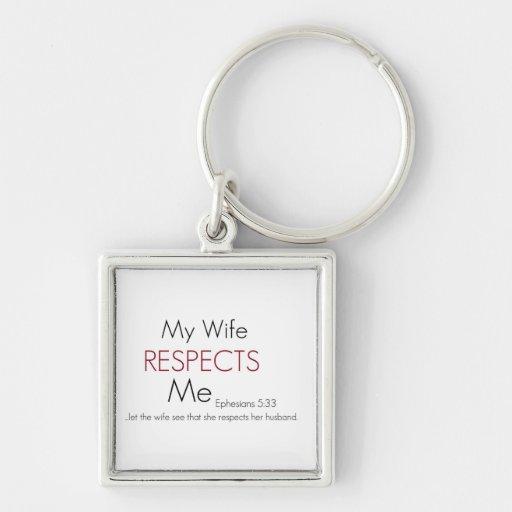 Mi esposa me respeta 5:33 de Eph Llavero Cuadrado Plateado