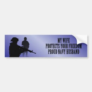 Mi esposa protege su libertad (el marido de la mar pegatina para auto