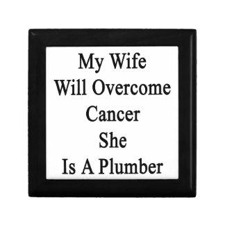 Mi esposa superará al cáncer que ella es fontanero caja de recuerdo