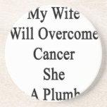 Mi esposa superará al cáncer que ella es fontanero posavasos diseño