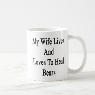 Mi esposa vive y ama curar osos tazas de café