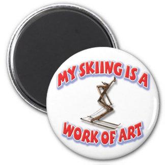 Mi esquí es una obra de arte imán redondo 5 cm