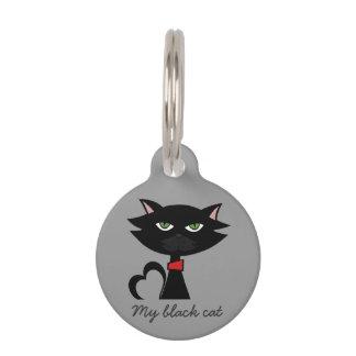 Mi etiqueta de identificación del gato negro placas de mascota