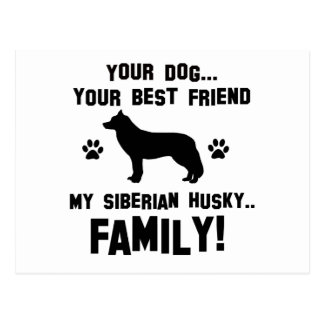 Mi familia del husky siberiano, su perro apenas un postal