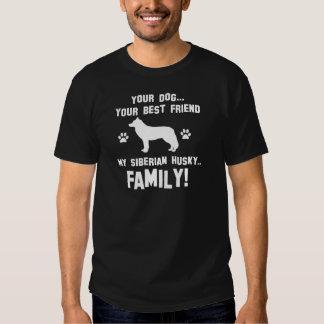 Mi familia del husky siberiano, su perro apenas un remeras