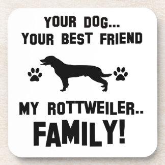 Mi familia del rottweiler, su perro apenas un posavasos de bebidas