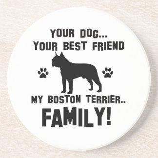 Mi familia del terrier de Boston, su perro apenas Posavasos Manualidades