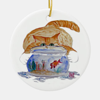 Mi Fishbowl, gatito del tigre de los maullidos Adorno Redondo De Cerámica