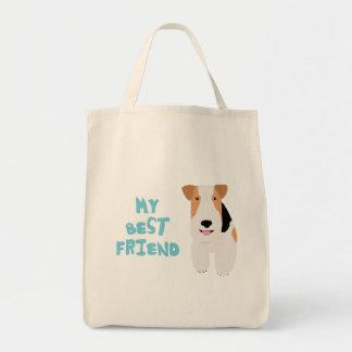 Mi fox terrier del alambre del mejor amigo bolsa tela para la compra