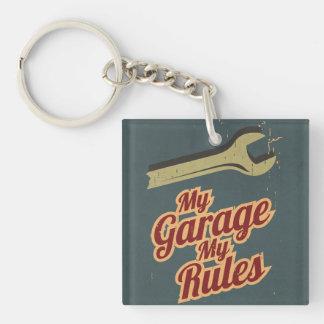 Mi garaje mis reglas llavero cuadrado acrílico a una cara