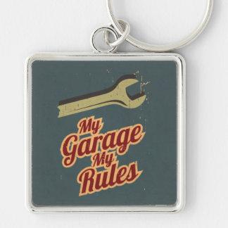 Mi garaje mis reglas llavero cuadrado plateado