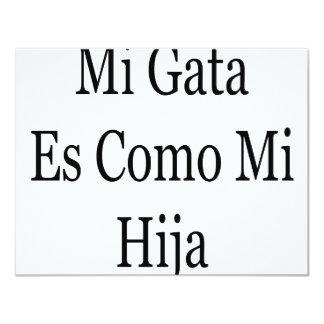 """Mi Gata Es Como Mi Hija 4.25"""" X 5.5"""" Invitation Card"""