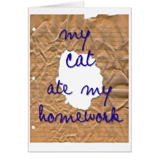 Mi gato comió mi preparación tarjeta de felicitación