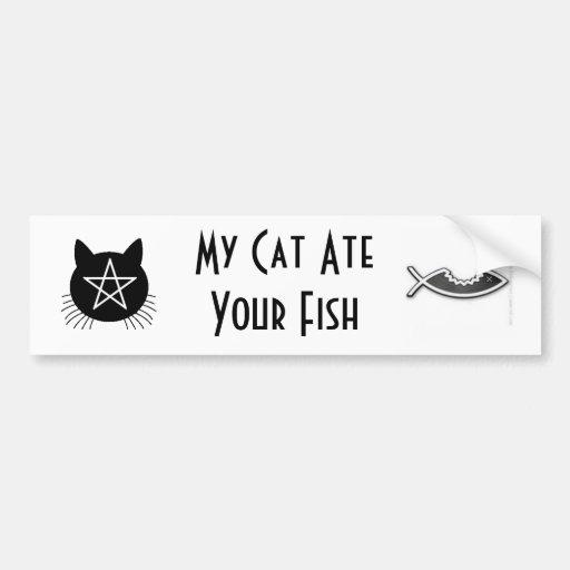 Mi gato comió sus pescados pegatina de parachoque