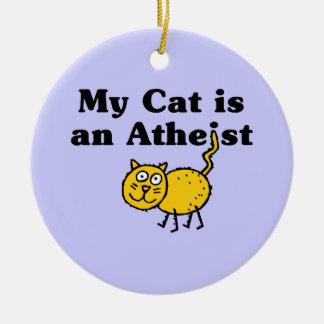 Mi gato es un ateo adorno navideño redondo de cerámica