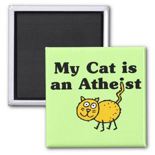 Mi gato es un ateo imán cuadrado