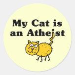 Mi gato es un ateo pegatina redonda