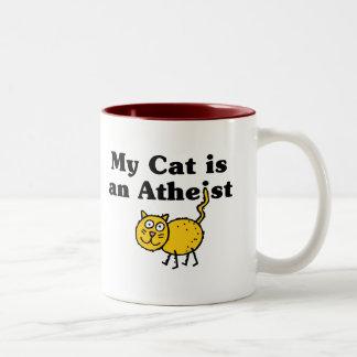 Mi gato es un ateo taza