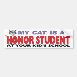 Mi gato es un estudiante del honor pegatina para auto