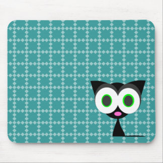Mi gato negro afortunado Mousepad modelado azul