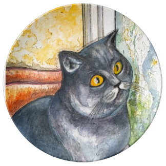 Mi gato querido #1 - placa decorativa plato de cerámica