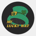 Mi gorra afortunado pegatina redonda