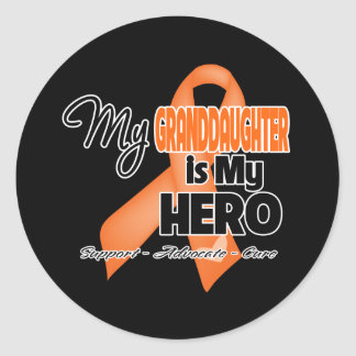 Mi Granddaugher es mi héroe - leucemia Pegatina Redonda