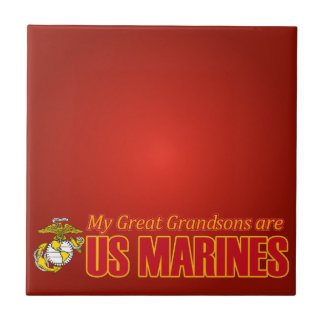 Mi grande - los nietos son infantes de marina azulejo cuadrado pequeño