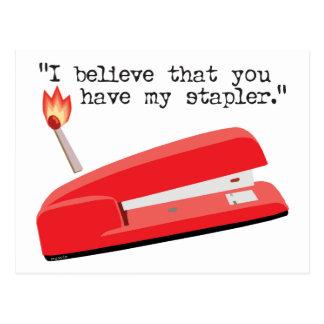 Mi grapadora roja postales