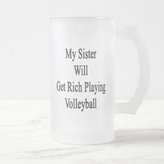 Mi hermana conseguirá rica jugando a voleibol taza de café